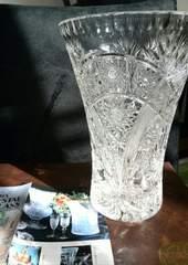 美品未使用品 ボヘミアクリスタル花瓶チェコ製 高さ20 cm