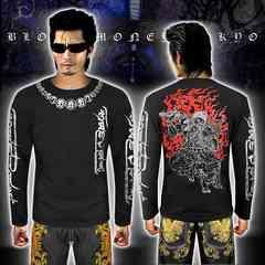 送料無料ヤクザヤンキーオラオラ系長袖ロンTシャツ服/不動明王和柄16029黒銀-5L