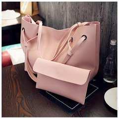 レディース トート ショルダーバッグ 小物入れ付き ピンク