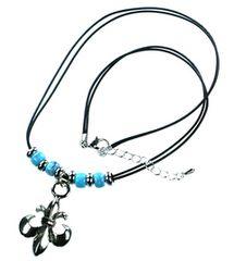 ターコイズカラービーズ 百合の紋章 ネックレス