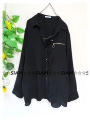 春夏新作☆大きいサイズ☆3Lブラック☆前GOLDボタン&ジップ☆シャツチュニ