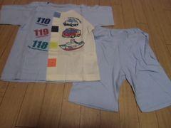 【新品】夏オススメ♪半袖前開きパジャマ100�pブルー♪クルマ柄