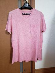 メンズ 綿100% 半袖 Vネック Tシャツ M