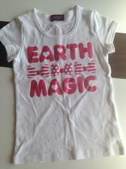アースマジック・ラメロゴ半袖Tシャツ・白130