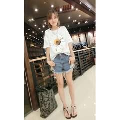 sale77704大きいサイズ☆ポップアートフラワープリントTシャツ☆ホワイト