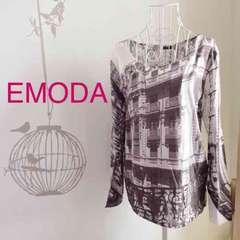 EMODA★新品smokerフォトプリントTシャツ☆黒白ブラックホワイト