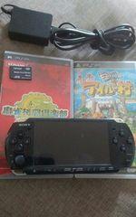 送料込・PSP本体-3000 ソフト2本・メモリーカード・ACアダプター付