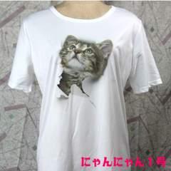 送料無料★猫Tシャツ にゃんにゃん1号 飛び出すネコ 白 L