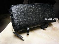 新品 ファスナー長財布 ブラック オーストリッチ型押 合皮