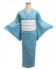 女性用綿麻浴衣&献上柄半巾帯2点セットしじら織水色地ラインM
