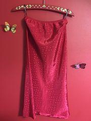 新品ナイスクラップレッド赤色ドットタイトスカート サテン