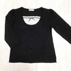 【美品】重ね着カーディガン風 7分袖Tシャツ/黒/L/コットン