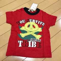 新品 ドクロアップリケ 半袖Tシャツ 100 マリファナ スカル