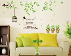 木の葉と小鳥と鉢植え ウォールステッカー 壁紙 シール WS06