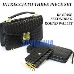 新品 編み込み 3点セット イントレチャート ビジネスバッグ 長財布キーケース メンズ黒