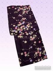 【和の志】夏の洗える着物◇紗Lサイズ◇ボルドー系・桜柄◇70