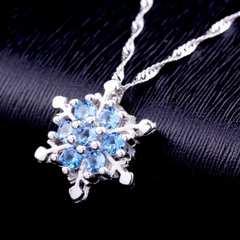 【特別価格設定】スカイブルー 雪の結晶 ネックレス 新品