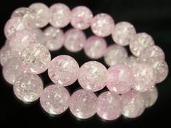大特価販売中!!ピンクトルマリンクラッククリスタル12ミリ数珠ブレスレット