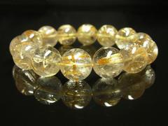 高級天然石数珠 タイチンルチルブレスレット 金針水晶パワーストーン