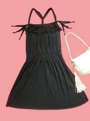 ブラッククロシェフリンジタンクキャミワンピース黒rosebullet