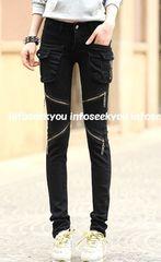 LL大きいサイズ/ZIP&ポケット付き黒ストレッチパンツ