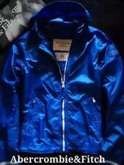 【Abercrombie&Fitch】アバクロ Vintage フード付ナイロンジャケット XL/Blue
