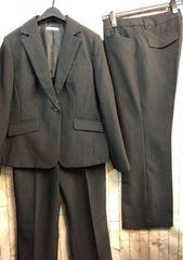 新品☆17号洗える2パンツスーツ黒ストライプ股下72�p☆n421