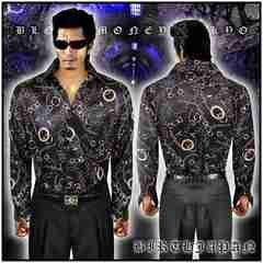 送料無料ヤクザ&ホスト系オラオラ系悪羅悪羅系ドレスシャツ/ヤカラグ服14063黒-XL