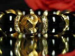 【オラオラ】金彫皇帝龍Xブラックオニキス14ミリ数珠ブレスレット