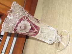 未使用☆ガラス製*花瓶(クリア×パープル)