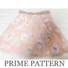 PRIME PATTERN リボンシフォンフラワースカート