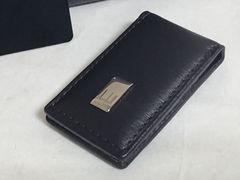 正規未 ダンヒルdunhill レザーマネークリップ 財布 ブラック×プレート カードケース
