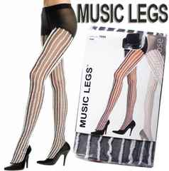 4A1)MusicLegsファー付きストッキング黒白タイツコスプレ仮装衣装セレブダンサーB系