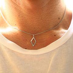 メタルダイヤフレーム チェーン ネックレス シルバー