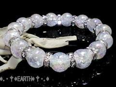 天然石★10ミリアクアクラック水晶&銀色ロンデル