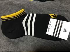 ★新品adidas 黒×リニアロゴ スニーカーソックス 23〜25★