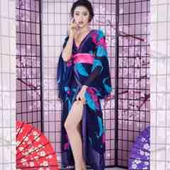 花魁風 着物ロングドレス 衣装 コスプレ キャバドレス 和柄 ネイビー