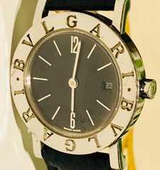 良品ブルガリブルガリレディース時計BB26SLD黒革ベルト箱付き