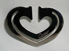 正規美レア Cartierカルティエ ロゴ文字鏡面ハート型マネークリップ 財布 カードケース