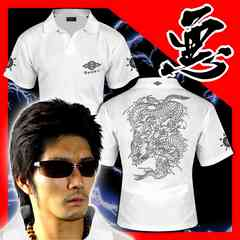 送料無料ヤンキーチンピラオラオラ系和柄半袖ポロシャツ/ホストお兄系服15010白-M