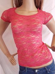 CLASS レース 透け素材 Tシャツ ピンク
