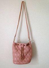 エムズエキサイト★キルティング ピンク 巾着 ショルダーバッグ