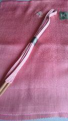 新品、草木染の帯揚げと帯〆(ゆるぎ)セット、ピンク