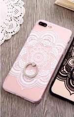 新品 iPhone7 iPhone8用 大きなお花のケース ホワイト�I