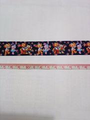 【花:ネイビー】22mm巾 ダッフィー&ステラ&ジェラトーニ柄リボン1M