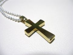 仁尾彫金『フラットゴールドクロス』ハンドメイド90b