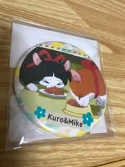 3月のライオン☆ブリキ缶バッチ【クロ&ミケ】