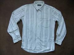 ベーシック 長袖 縦ストライプコットンシャツ 白 ホワイト L