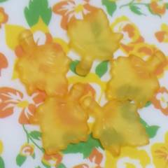 【未使用】アクリル*楓*風ビーズ(5個set)オレンジ