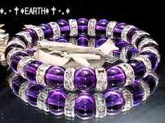 天然石★8ミリ紫水晶アメジストAAA&ロンデル数珠